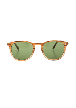 Garrett Leight Kinney 49 in Tortoise Fade & Pure Green - Brown. Size all.