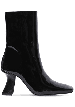 85mm Demi Patent Leather Ankle Boots