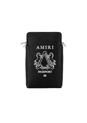 Amiri Passport Holder Bag in Black & Silver - Black. Size all.