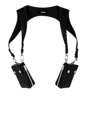 Amiri Calf Harness bag in Black & Silver - Black. Size all.