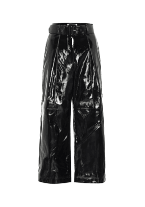 High-rise faux patent-leather pants