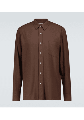 Long-sleeved silk noil shirt