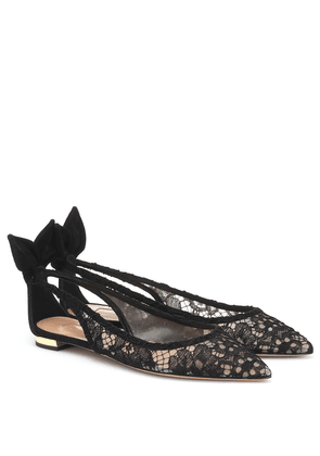 Bow Tie lace and suede ballet flats