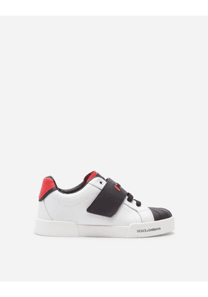 Dolce & Gabbana Shoes (24-38) - TWO-TONE CALFSKIN PORTOFINO LIGHT SNEAKERS WITH LOGO WHITE/RED