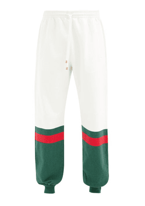 Gucci - Logo-stripe Loopback Cotton-jersey Track Pants - Mens - Green White