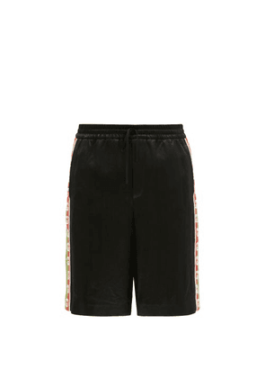 Gucci - Logo-jacquard Striped Satin Shorts - Mens - Black