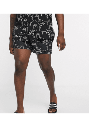 ASOS DESIGN Plus co-ord swim shorts with handrawn face print short length-Black