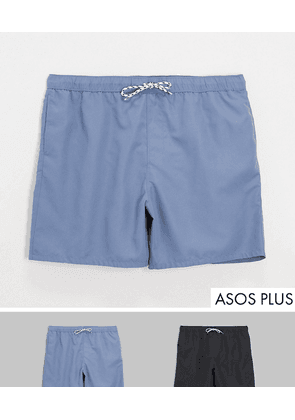ASOS DESIGN Plus 2 pack swim shorts in blue and black mid length save-Multi
