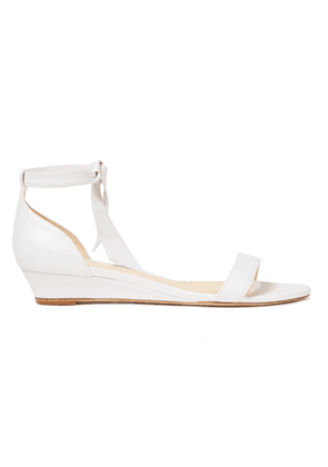 Alexandre Birman Atenah Knotted Leather Wedge Sandals Woman White Size 37