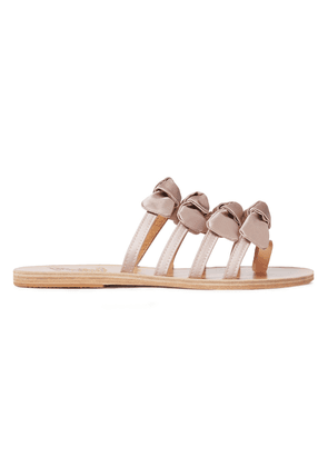 Ancient Greek Sandals Hara Bow-embellished Satin And Leather Sandals Woman Pastel pink Size 36