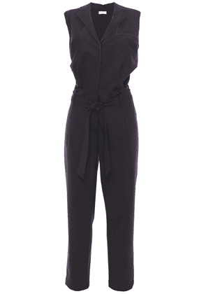 Brunello Cucinelli Bead-embellished Belted Wool-blend Jumpsuit Woman Black Size M
