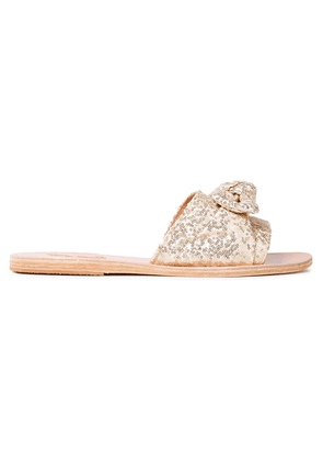 Ancient Greek Sandals Taygette Bow-embellished Sequined Woven Slides Woman Gold Size 38