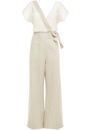 Brunello Cucinelli Embellished Twill-paneled Bow-detailed Stretch-silk Wide-leg Jumpsuit Woman Cream Size XS