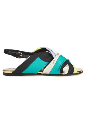 Emilio Pucci Leather-trimmed Printed Twill Slingback Sandals Woman Black Size 35