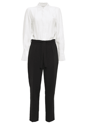 Equipment Andrea Paneled Washed-silk And Crepe Jumpsuit Woman White Size 6