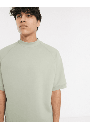 ASOS WHITE short sleeve sweatshirt with toggle detail-Green