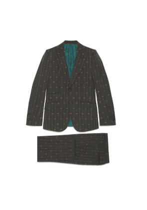 Heritage Interlocking G stripe wool suit