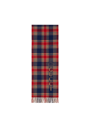 Gucci vintage logo wool check scarf