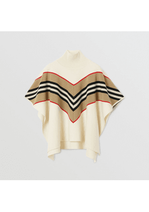Burberry Childrens Icon Stripe Panel Wool Cashmere Blend Poncho