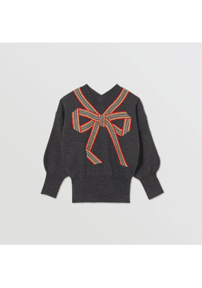 Burberry Childrens Icon Stripe Bow Merino Wool Silk Sweater