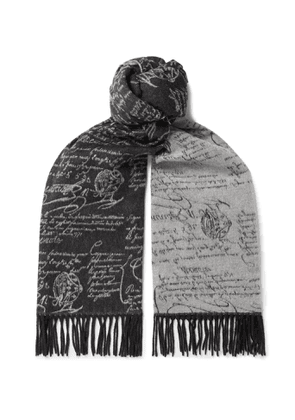 Berluti - Scritto Reversible Fringed Brushed-Silk Scarf - Men - Gray