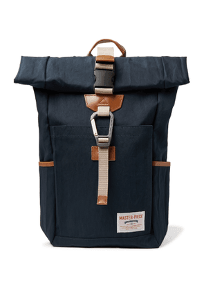 Master-Piece - Leather-Trimmed Nylon-Twill Backpack - Men - Blue