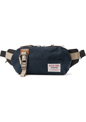 Master-Piece - Leather-Trimmed Nylon-Twill and Canvas Belt Bag - Men - Blue