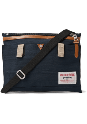 Master-Piece - Leather-Trimmed Nylon-Twill Messenger Bag - Men - Blue