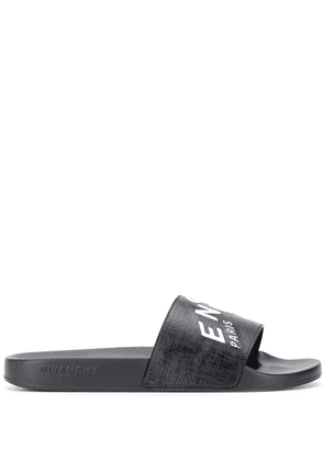 Givenchy logo print leather slides - Black