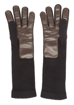 Inverni knitted leather gloves - Black