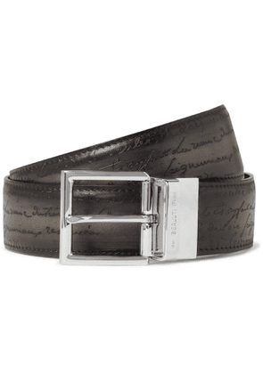 Berluti - 3.5cm Scritto Reversible Venezia Leather Belt - Men - Gray
