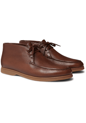 Brunello Cucinelli - Shearling-Lined Full-Grain Leather Chukka Boots - Men - Brown