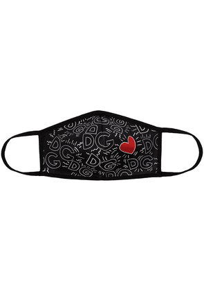 Dolce & Gabbana heart monogram-print face mask - Black