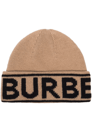 Burberry logo-intarsia cashmere beanie hat - Brown