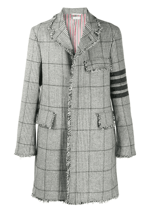 Thom Browne Chesterfield unconstructed 4-Bar check coat - Grey