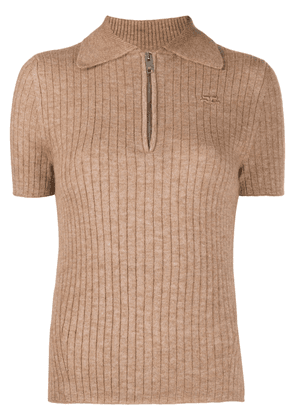 Courrèges logo-patch ribbed polo shirt - Brown