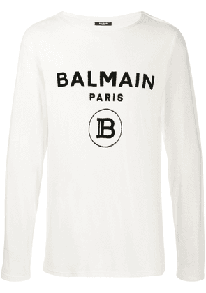 Balmain logo print long-sleeve T-shirt - Neutrals