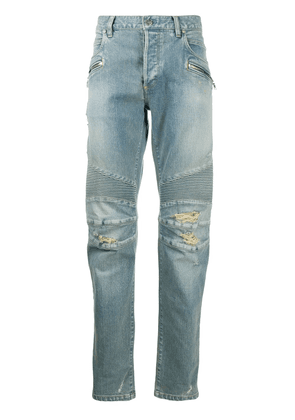 Balmain ribbed knees ripped jeans - Blue