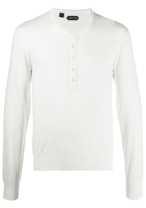 Tom Ford button-up long-sleeved T-shirt - White