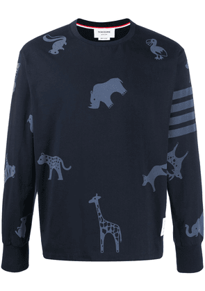 Thom Browne icon print oversized long sleeve T-shirt - Blue