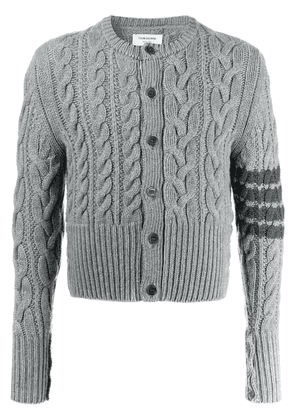 Thom Browne Aran cable-knit cashmere cardigan - Grey
