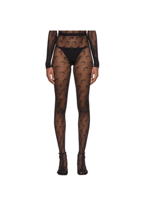 Marine Serre Black Crochet Jacquard Moon Tights