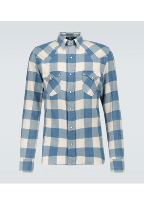 Cotton-linen checked flannel shirt