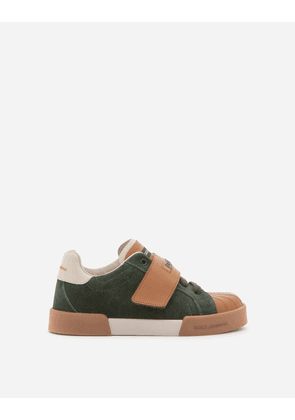 Dolce & Gabbana Shoes (24-38) - SUEDE AND CALFSKIN PORTOFINO LIGHT SNEAKERS GREEN