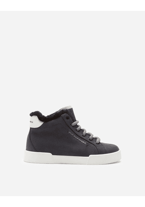 Dolce & Gabbana Shoes (24-38) - SUEDE PORTOFINO LIGHT SNEAKERS WITH LETTERING LOGO BLACK