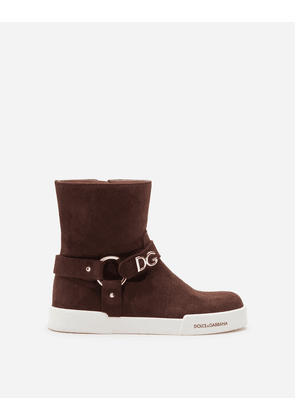 Dolce & Gabbana Shoes (24-38) - SUEDE ANKLE BOOTS WITH DG LETTERING BROWN