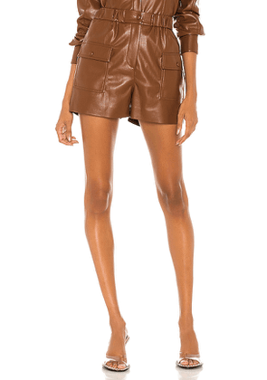 MSGM Leather Bermuda Shorts in Brown. Size 38/XS,42/M,44/L.