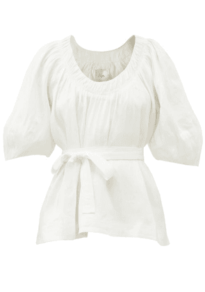 Aje - Psychedelia Linen-blend Dupioni Belted Blouse - Womens - White