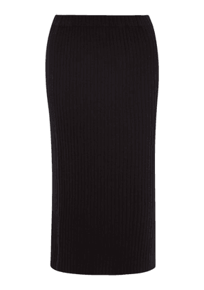 Allude - Ribbed-knit Cashmere Midi Skirt - Womens - Black
