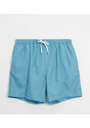 ASOS DESIGN Plus swim shorts with pintuck in blue mid length